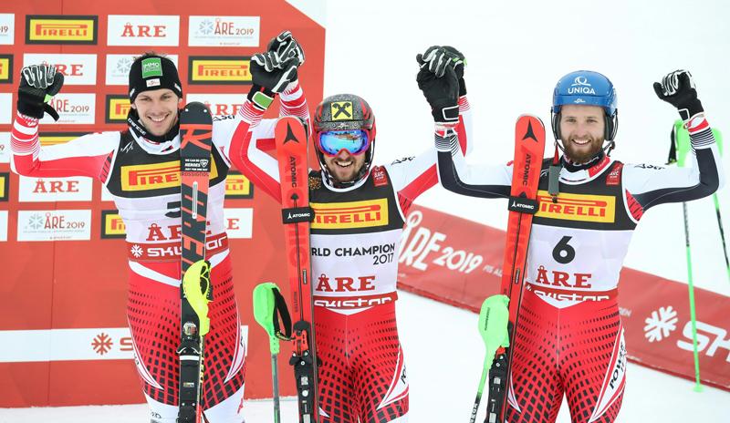 Michael Matt, Marcel Hirscher und Marco Schwarz