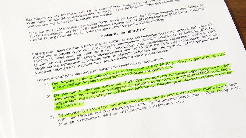 Finkensteiner Nudel Strafverfügung