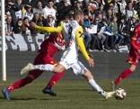 Joao Klauss de Mello (LASK) erzielt das 3 zu 0 am Samstag, während der Uniqa ÖFB Cup-Viertelfinal-Begegnung zwischen LASK Linz und spusu SKN St. Pölten