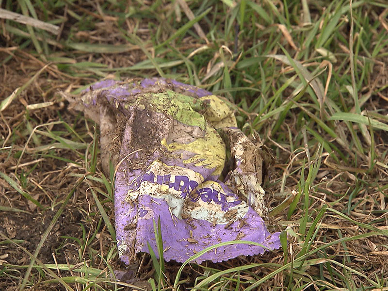 Plastik auf Wiese