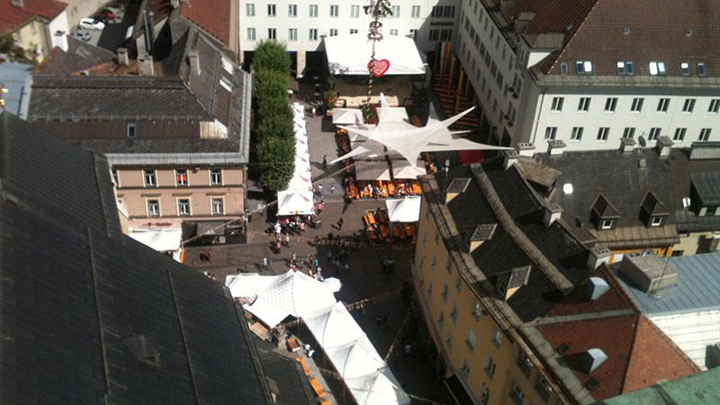 Villach Innenstadt Blick Kirchturm