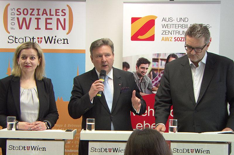 Chefin des FSW Anita Bauer, Bürgermeister Michael Ludwig, Sozialstadtrat Peter Hacker