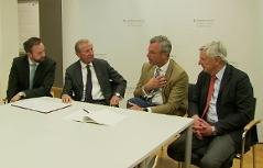 Landeshauptmann Wilfried Haslauer (ÖVP), Verkehrslandesrat Stefan Schnöll (ÖVP), Bürgermeister Harald Preuner (ÖVP), Verkehrsminister Nobert Hofer (FPÖ) bei Unterzeichnung Absichtserklärung
