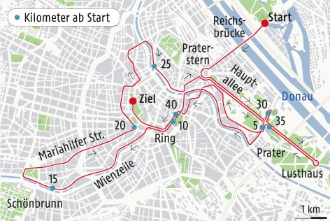 Grafik zeigt Details zum Wien-Marathon