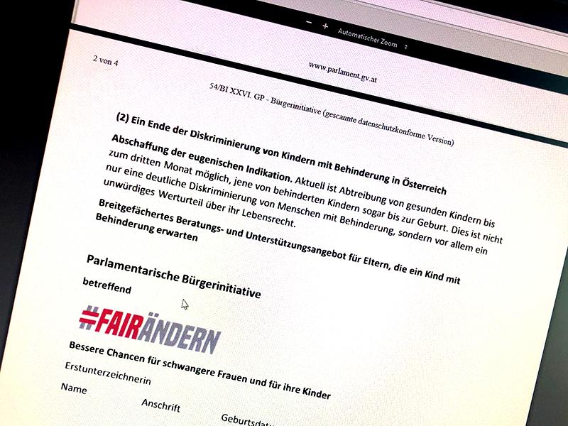 Initiative fairändern fordert die Abschaffung  der eugenischen Indikation