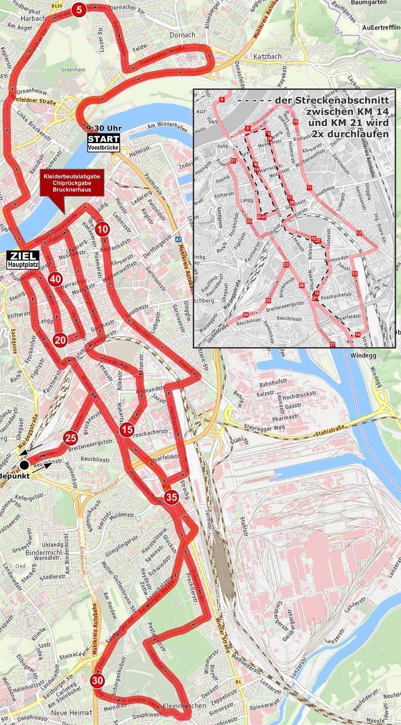 Linz Marathon Strecke