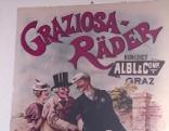 """Ein Plakat mit der Aufschrift """"Graziosa Räder"""" und drei gezeichneten Personen um ein Rad."""