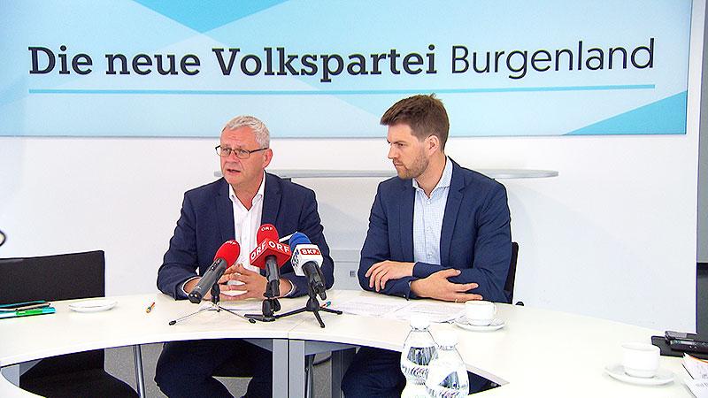 Thomas Steiner und Christoph Wolf von der ÖVP bei der Presskonferenz zum Landesrechnungshof