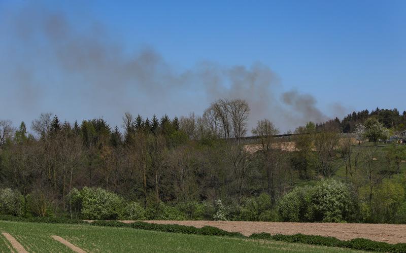 Die Rauchsäule der brennenden Christbaumkultur war von weitem zu sehen