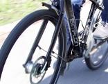 Fahrradfahrer während der Fahrt