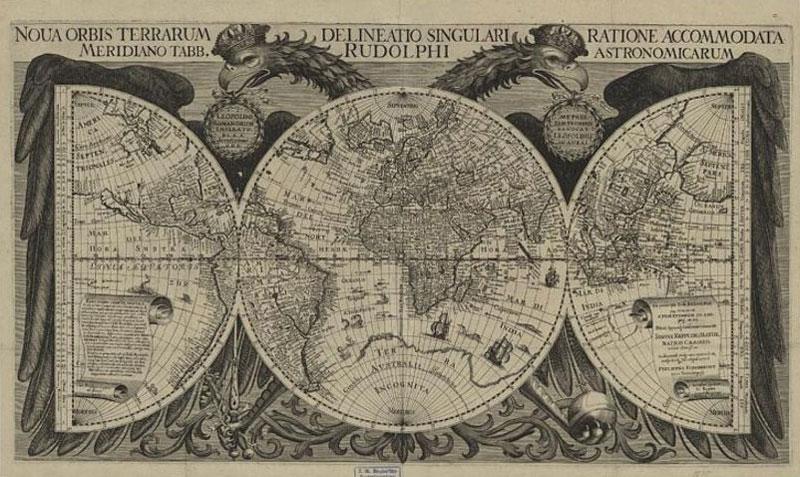 """""""Weltkarte"""" aus einem Buch des Johannes Kepler"""