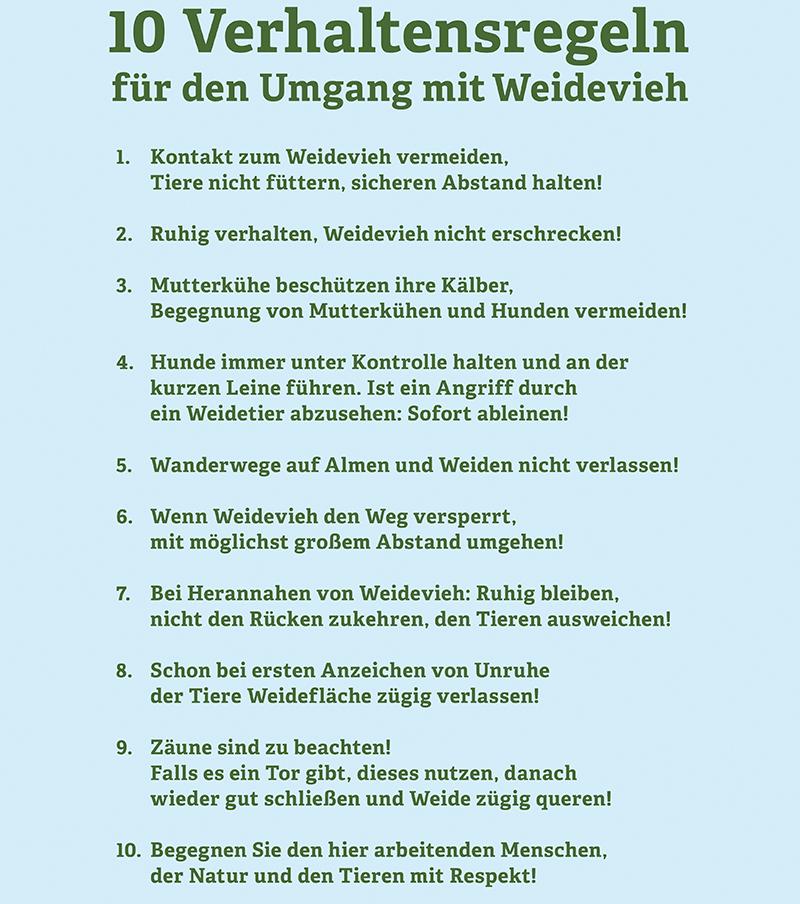 Verhaltensregeln Alpen