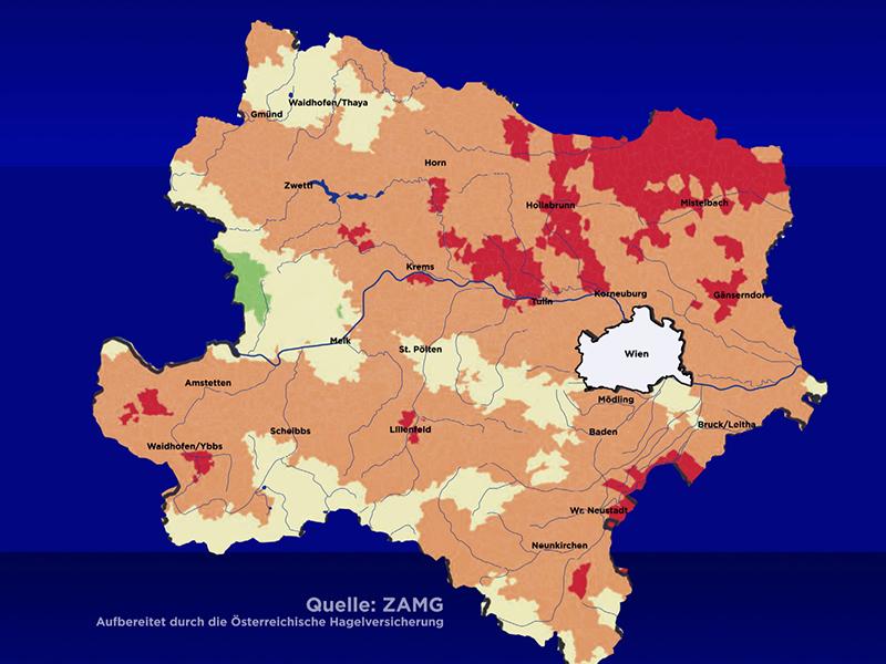 Grafik, die zeigt, welche Bereiche in NÖ besonders trocken sind (Wald und Weinviertel)