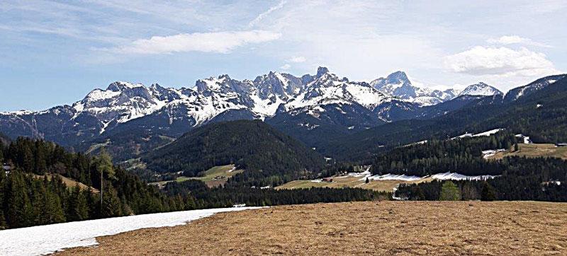 Panoramablick vom Oberschober in Richtung Bischofsmütze und Torstein, Dreiländerblick