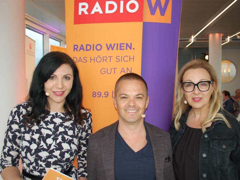 Radio Wien Talk im Turm mit Jasmin Dolati, Stefan Verra und Euke Frank live aus dem Wiener Ringturm.