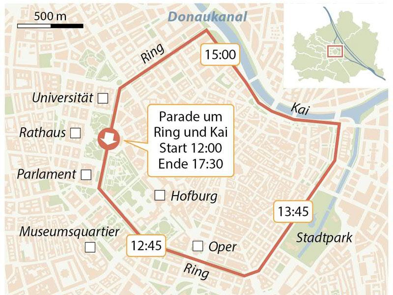 Regenbogenparade am 15. Juni in Wien. Im Bidl: Eine Grafik der Route