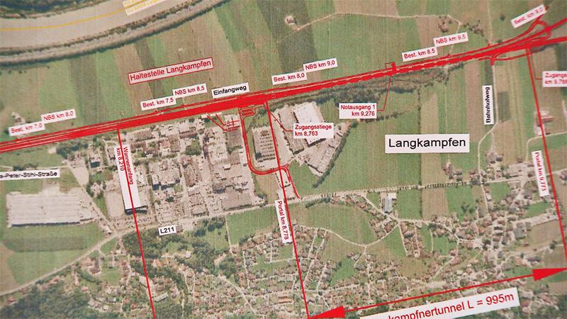 Plan für Unterinntalbahn bei Langkampfen
