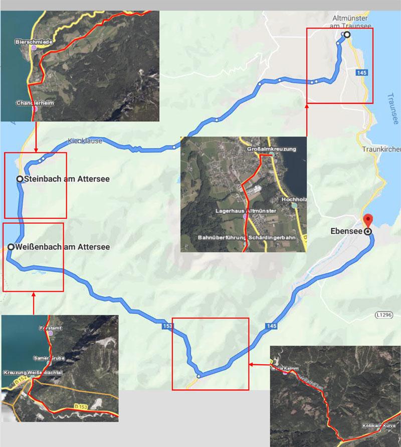Karte der Straßensperre B145