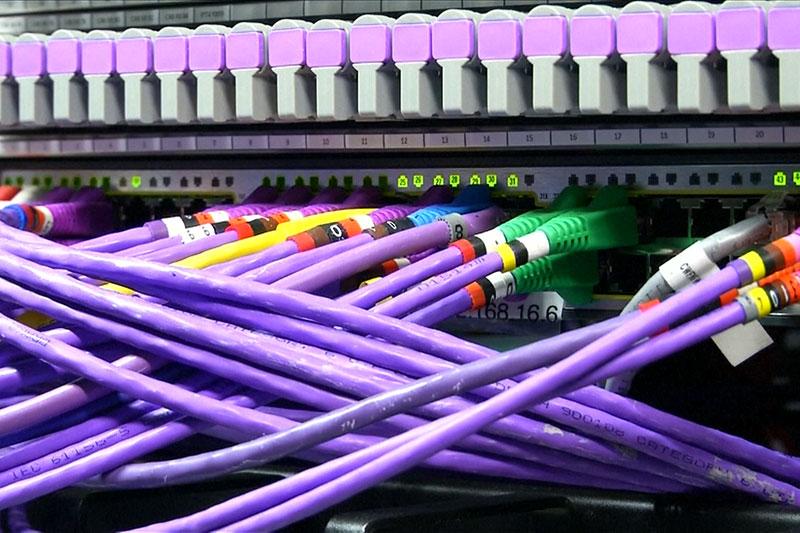 Netzwerkkabel und Netzwerkports an Computerswitch