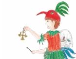 """Zeichnung von Papageno aus Mozarts Oper """"Die Zauberflöte"""""""