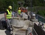 Bauarbeiten auf der historischen Semmering Bahntrasse