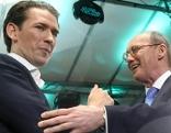 Bundeskanzler Sebastian Kurz gratuliert ÖVP-Spitzenkandidat Othmar Karas