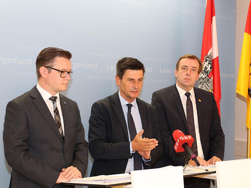 Soziallandesrat Christian Illedits,  Geza Molnar (li.) und LAbg. Christian Drobits (re.)