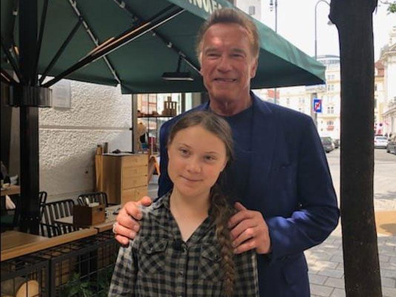 Begegnung Schwarzenegger und Thunberg
