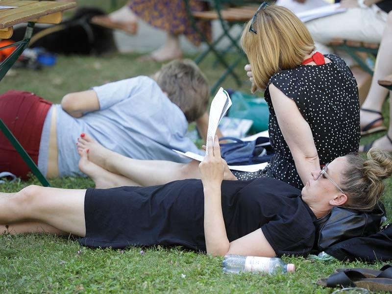 Publikum im Park